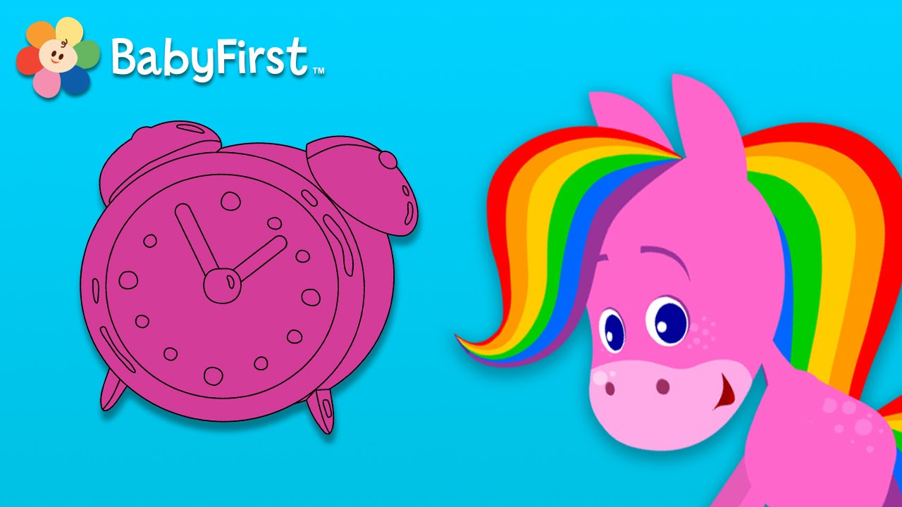 Babyfirsttv Rainbow Horse Coloring Music Clocks And Watches Baby Sensory Videos Youtube Thumbnail Piosenki Dla Dzieci Info
