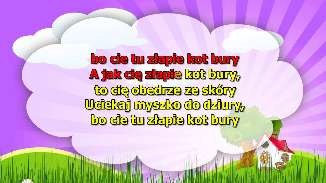 Piosenki dla Dzieci – Uciekaj myszko do dziury + tekst – karaoke